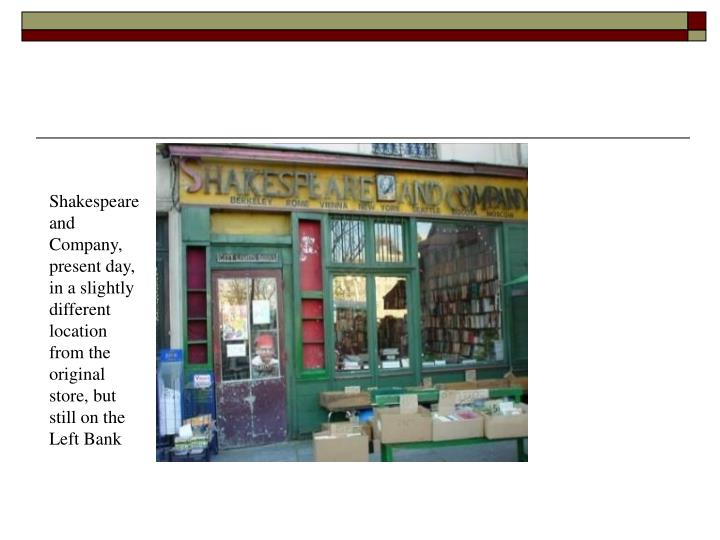 Shakespeare and Company, present day, in a slightly different location from the original store, but still on the Left Bank