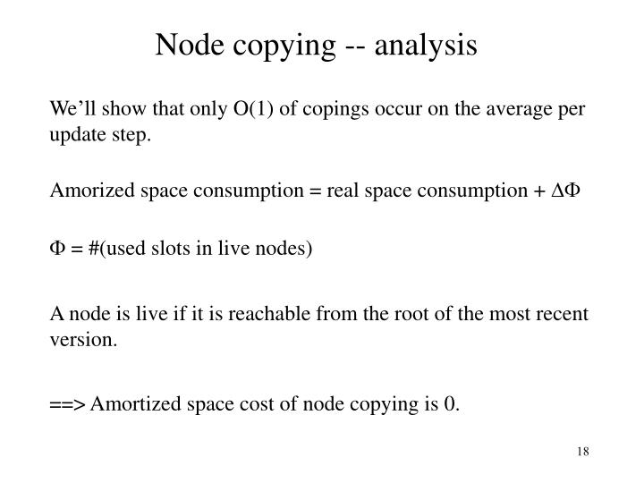 Node copying -- analysis