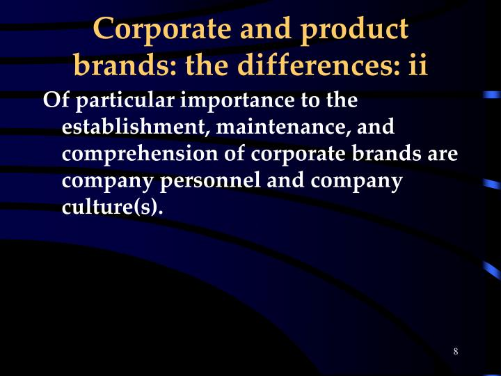 Corporate and product brands: the differences: ii