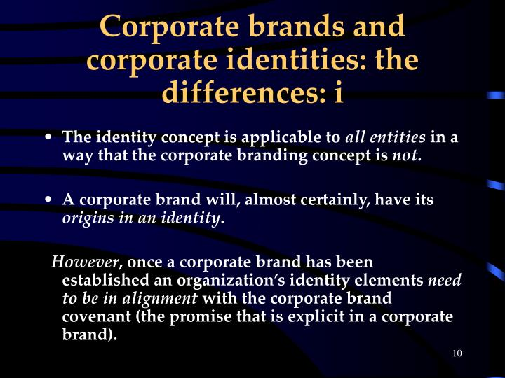 Corporate brands and corporate identities: the differences: i