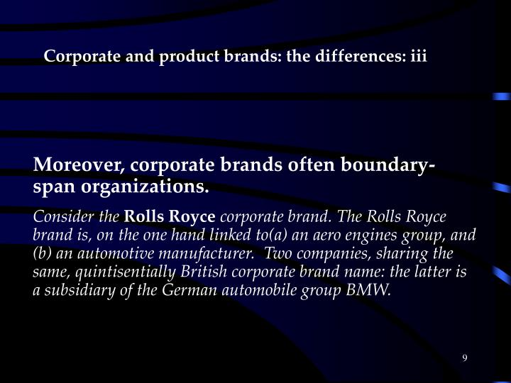 Corporate and product brands: the differences: iii