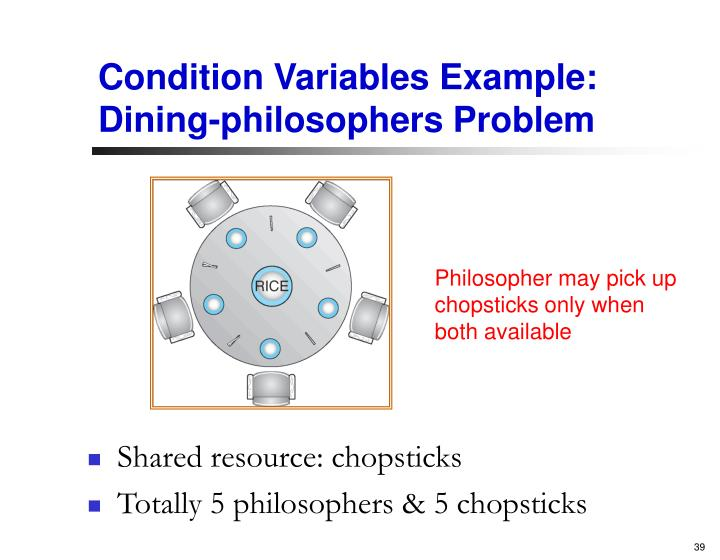 Condition Variables Example: Dining-philosophers Problem