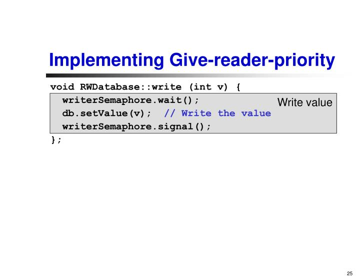Implementing Give-reader-priority
