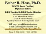 esther b hess ph d fcicpp board certified diplomate fellow
