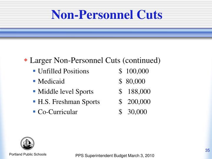 Non-Personnel Cuts