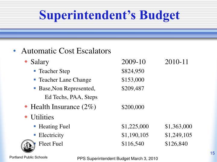 Superintendent's Budget