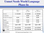 unmet needs world language phase in
