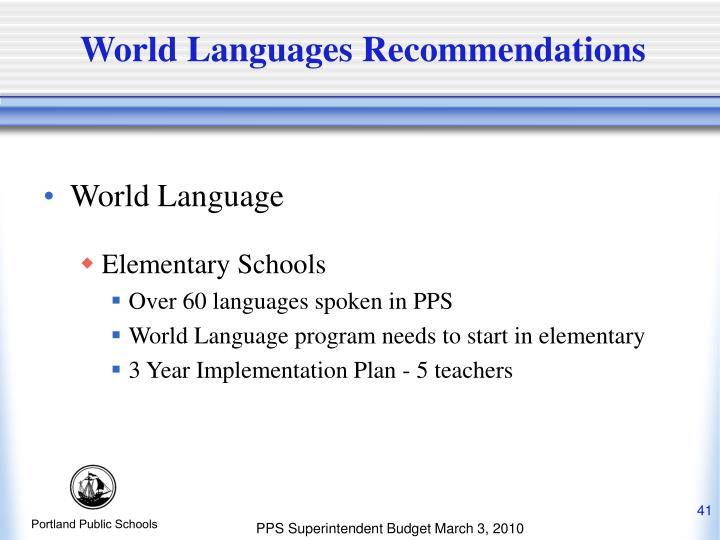 World Languages Recommendations