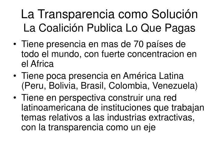 La Transparencia como Solución