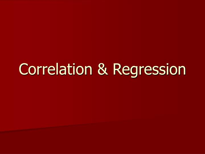 Correlation regression