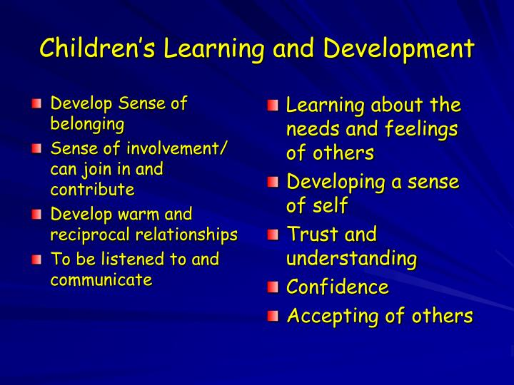 Develop Sense of belonging