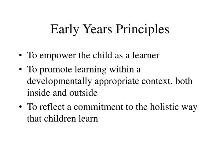 Early Years Principles