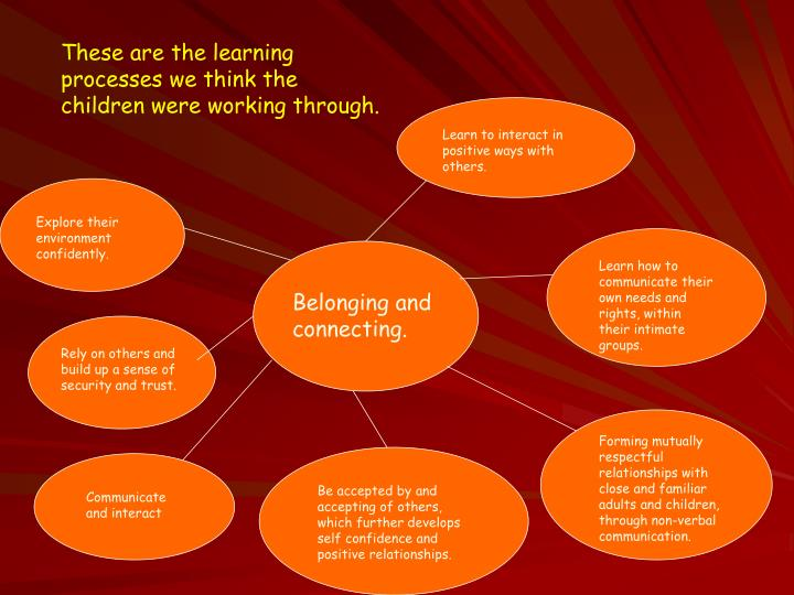 These are the learning processes we think the children were working through.