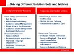 driving different solution sets and metrics