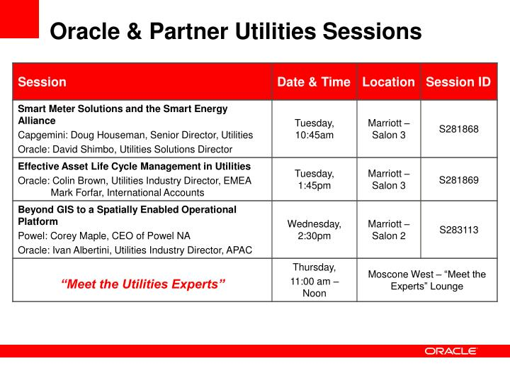 Oracle & Partner Utilities Sessions