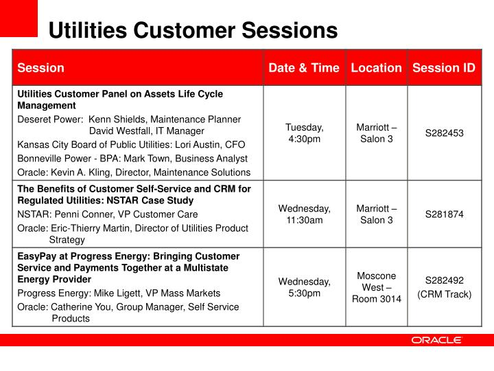 Utilities Customer Sessions