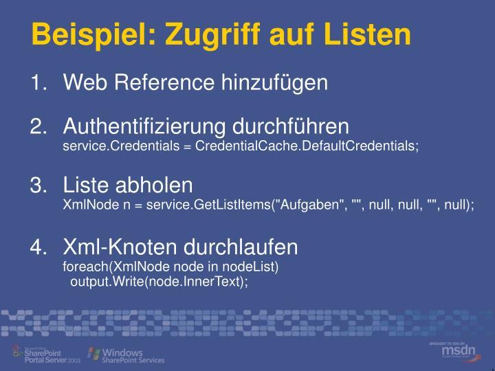 Beispiel: Zugriff auf Listen