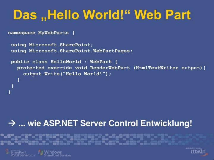 "Das ""Hello World!"" Web Part"