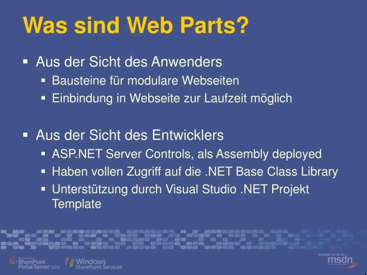Was sind Web Parts?