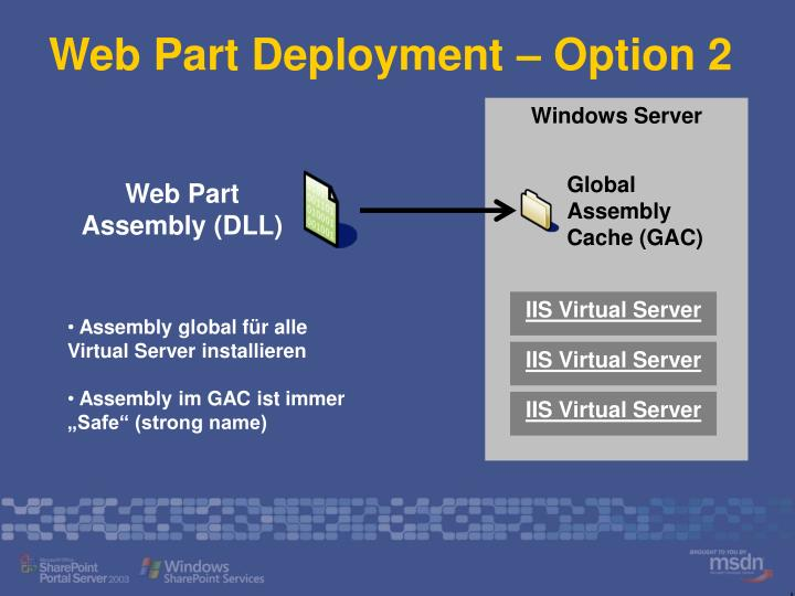 Web Part Deployment – Option 2