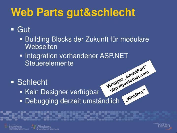 Web Parts gut&schlecht