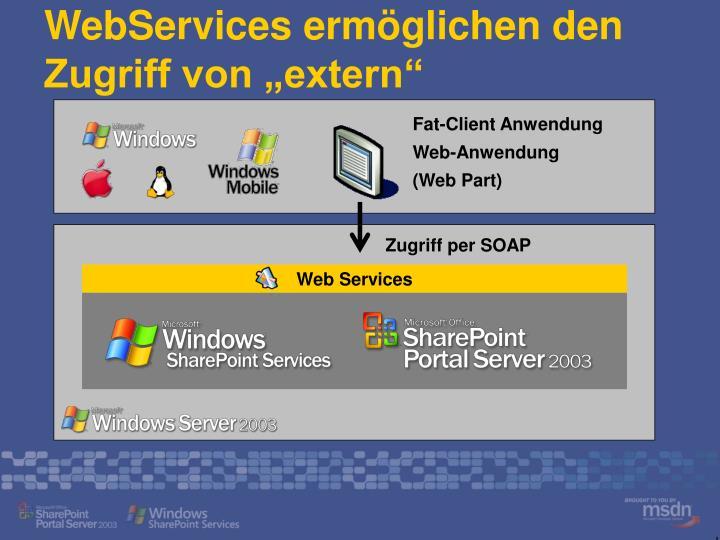 """WebServices ermöglichen den Zugriff von """"extern"""""""