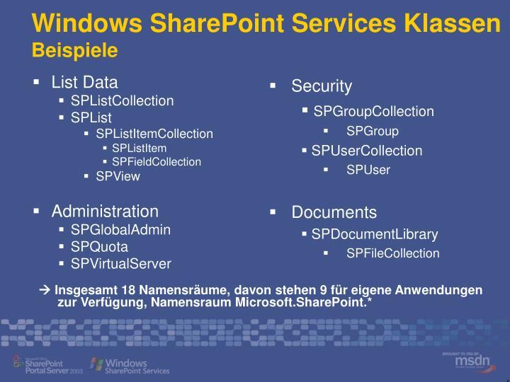 Windows SharePoint Services Klassen