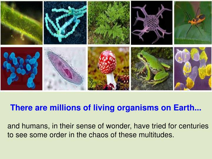 There are millions of living organisms on Earth...
