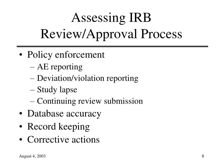 Assessing IRB