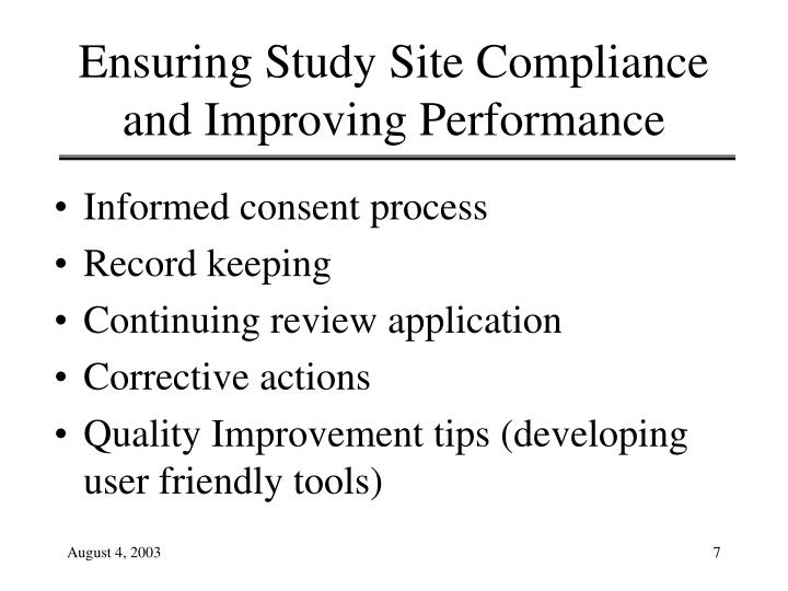 Ensuring Study Site Compliance and Improving Performance