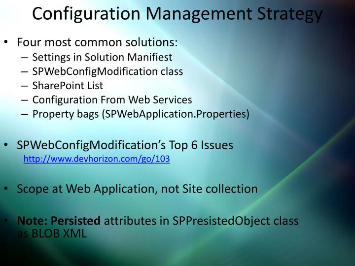 Configuration Management Strategy