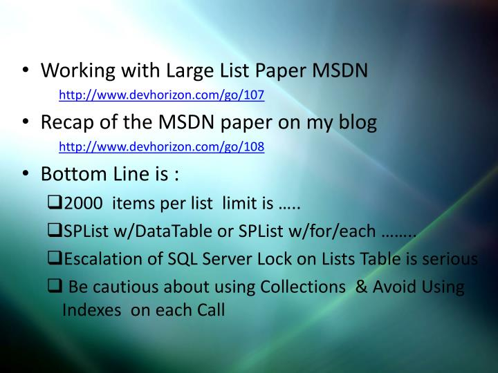 List Capacity Planning