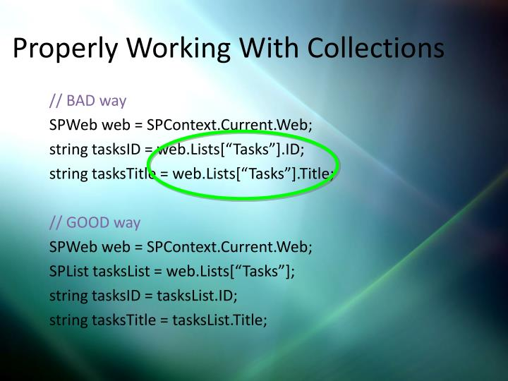 Properly Working With Collections