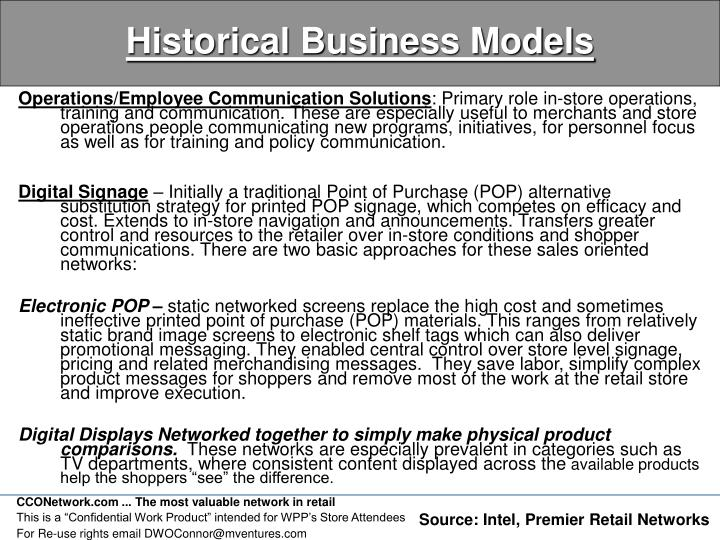 Historical Business Models
