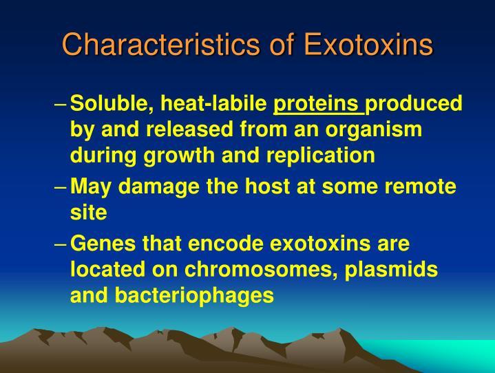 Characteristics of Exotoxins