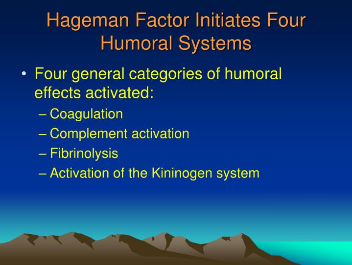 Hageman Factor Initiates Four Humoral Systems