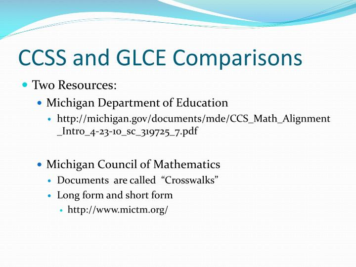 CCSS and GLCE Comparisons