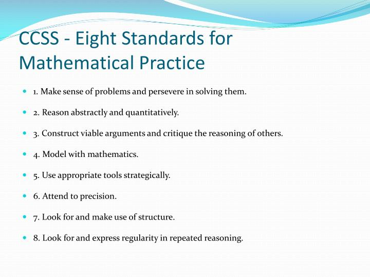 CCSS - Eight Standards for Mathematical Practice