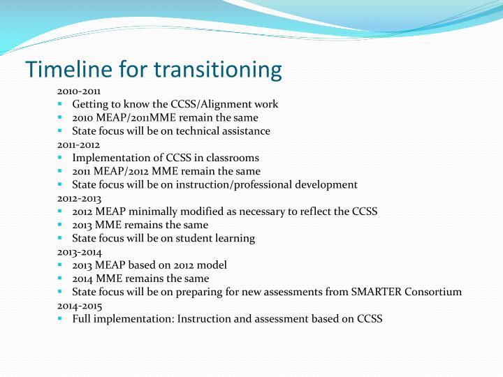 Timeline for transitioning