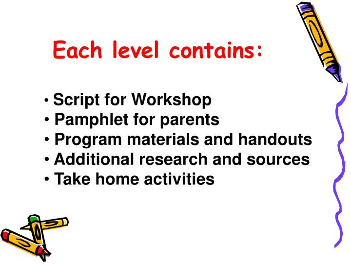 Each level contains: