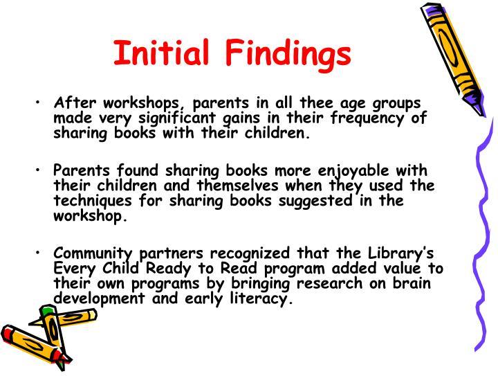 Initial Findings