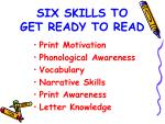 six skills to get ready to read