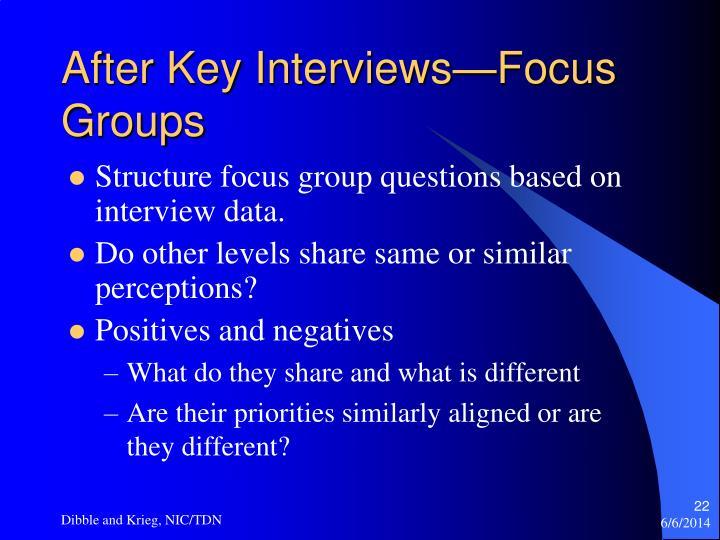 After Key Interviews—Focus Groups
