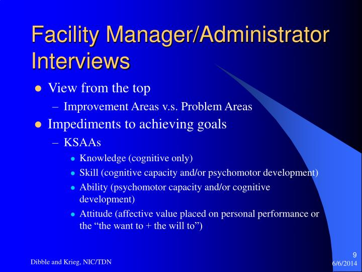 Facility Manager/Administrator Interviews