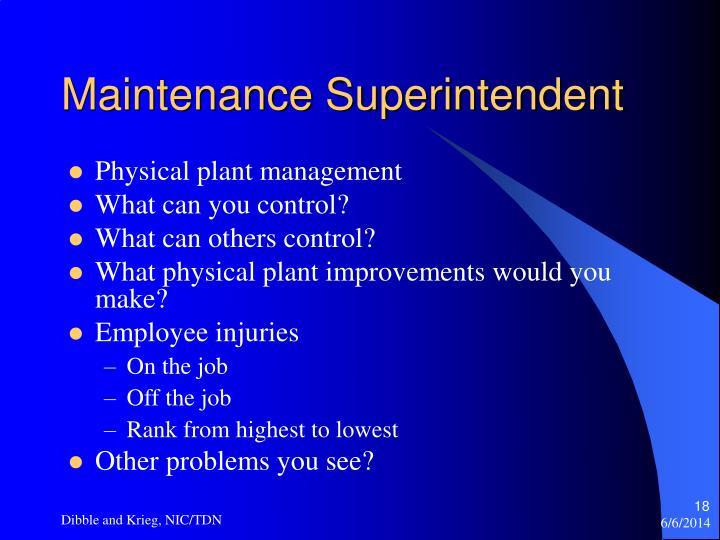 Maintenance Superintendent