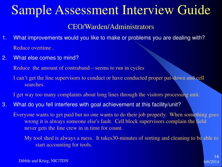Sample Assessment Interview Guide