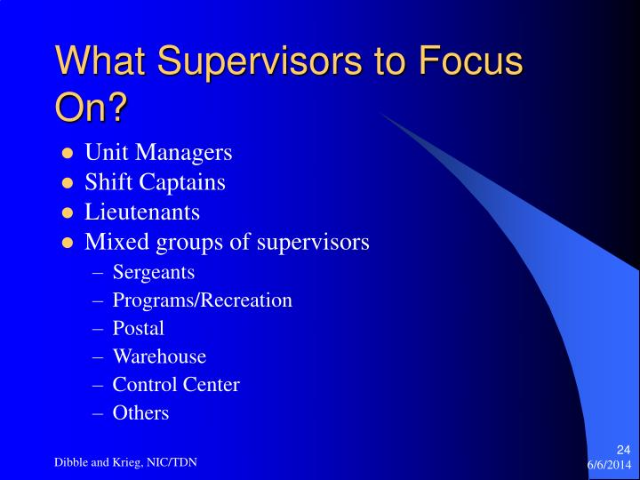 What Supervisors to Focus On?
