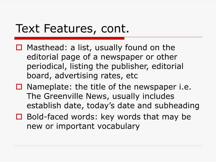 Text Features, cont.