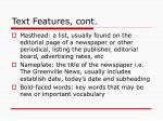 text features cont
