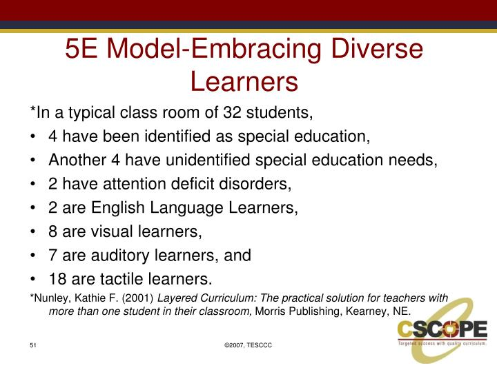 5E Model-Embracing Diverse Learners